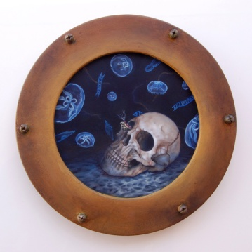 """Dead Sea: The Haunt • 2013 • Oil, Acrylic, and Hardware on Panel • 12 x 12"""""""