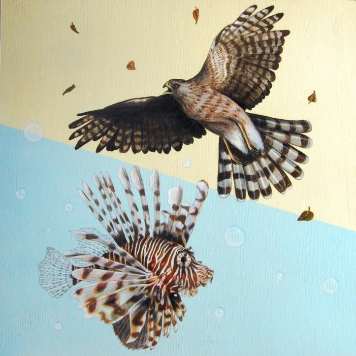 "Desert/Sea: Soar • 2013 • Acrylic on Panel • 12""x12"""