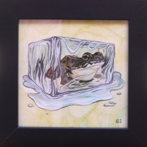 """Rana pipiens • 2013 • Watercolor and Gouache on Paper • 5x5"""""""