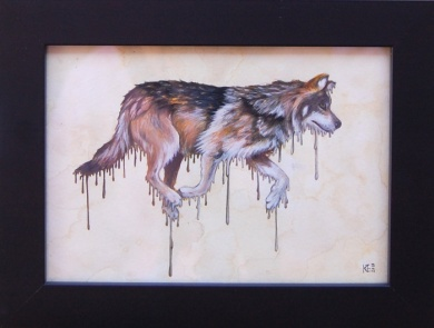 Canis lupis baileyi • 2013 • Watercolor and Gouache on Paper • 5x7""
