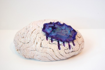 "Brain Coral • 2014 • Oil and Acrylic on Epoxy Resin • 3""x5"""