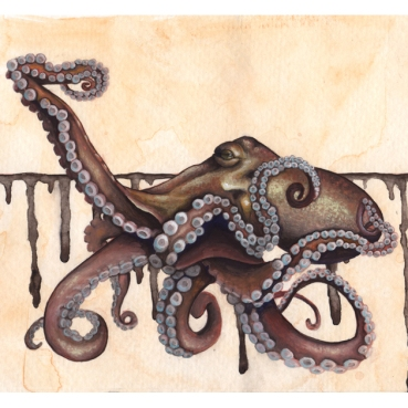 """Thaw • 2015 • Watercolor and gouache on paper • 5x7"""""""