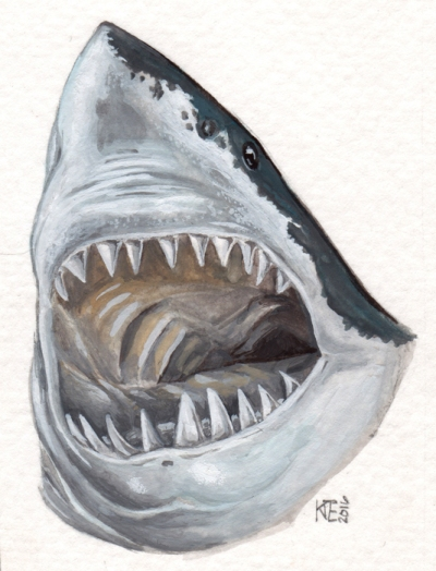 """Great White • 2016 • Watercolor and gouache on paper • 3x5"""""""